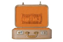 Old vintage suitcase on a white background isolated. Concept travel. stock images