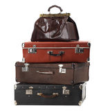 Old vintage suitcases. Isolated on white. Luggage Stock Photography