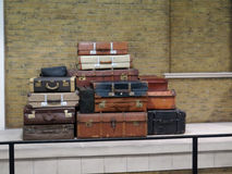 Old vintage suitcases and luggage. Pile of old vintage suitcases - luggage Royalty Free Stock Photography