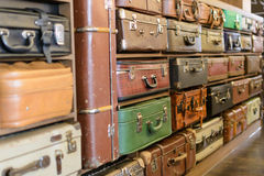 Old vintage suitcases. Wall photo Stock Photography