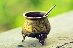 Old vintage tableware from bronze Royalty Free Stock Photos