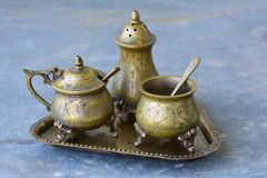 Old vintage tableware from bronze Stock Image