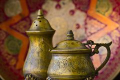 Old vintage tableware from bronze Stock Images