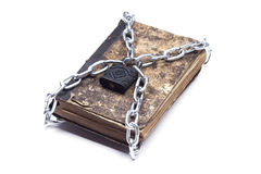 Old vintage tattered book lock with chain white background Stock Photography