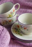 Old vintage tea cups, shabby shick style royalty free stock photos