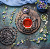 Old vintage tea setting with cup of herbal tea and fresh healing herbs and wild flowers on dark rustic background, top view. Stock Photos
