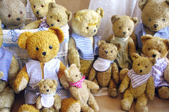 Old vintage teddy bear family Stock Photo