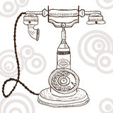 Old vintage telephone - retro illustration Royalty Free Stock Images