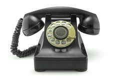 Old Vintage Telephone on White Stock Photography