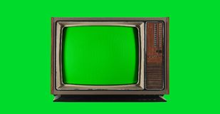 Old Vintage Television with green screen Stock Image