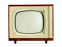 Old vintage television. Isolated on white background with copy space (clipping path included Stock Photography