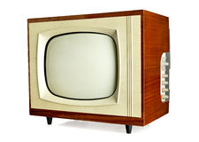 Old vintage television. Isolated on white background with copy space (clipping path included Stock Photos