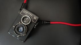 The Old Vintage TLR  Film Camera or Twin Lens Reflex Camera. The Old Soviet Brand Name Lomo Model Lubitel 166 Universal TLR Camera. The Old Vintage TLR  Film royalty free stock images