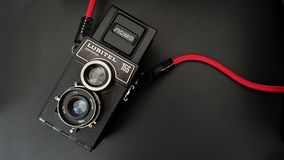 The Old Vintage TLR  Film Camera or Twin Lens Reflex Camera. The Old Soviet Brand Name Lomo Model Lubitel 166 Universal TLR Camera. The Old Vintage TLR  Film stock photo