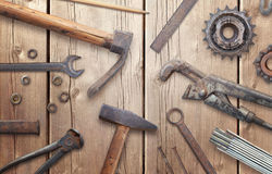 Old vintage tools on wooden table Royalty Free Stock Photos