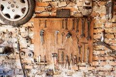 Old vintage tools at workshop. Stock Photo