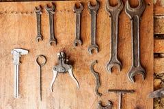 Old vintage tools at workshop. Royalty Free Stock Image