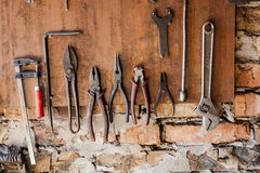 Old vintage tools at workshop. Royalty Free Stock Photo
