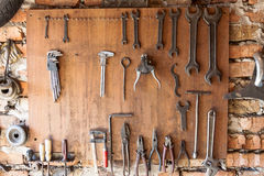 Old vintage tools at workshop. Royalty Free Stock Images