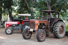Old vintage tractors in field Royalty Free Stock Images