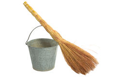 Old vintage traditional  bucket, broom. Royalty Free Stock Images