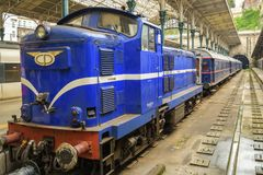 Old vintage train at Sao Bento train station in Porto stock images