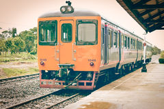 Old vintage train. Old vintage train in train station Stock Images