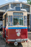 Old vintage tram Gotha T59E with kids in the garage at the depot in Lviv Royalty Free Stock Photography