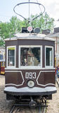 Old vintage tram Sanok SW-1 in the garage at the depot in Lviv Royalty Free Stock Photography