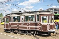 Old vintage tram Sanok SW-1 in the garage at the depot in Lviv Stock Images