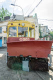 Old vintage tram for snow removal in the garage at the depot in Lviv Stock Photos