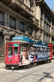 Old and vintage tram on the street of Milan, Italy Royalty Free Stock Photography