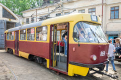 Old vintage tram  Tatra T4SU in the garage at the depot in Lviv Royalty Free Stock Image