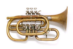 Old vintage trumpet. Isolated over white Royalty Free Stock Photos