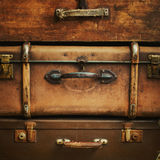 Old Vintage Trunks in a Stack, square Royalty Free Stock Photos