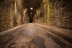 Old vintage tunnel in Biarritz at night Royalty Free Stock Image