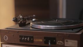 The Old Vintage Record Player. The old vintage turntable vinyl records player stock footage