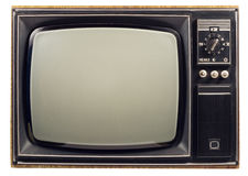 Old vintage TV. Over a white background Royalty Free Stock Photo