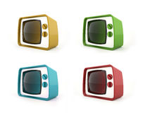 Old vintage TV concept in four Stock Photography