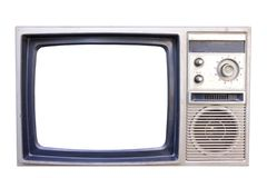 Old vintage TV isolated on white background Stock Photo