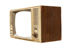 Old vintage tv isolated on white background Stock Photo