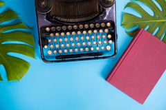 Old and vintage type writer machine and books and green leaves over blue background - with copy space. Stock Image