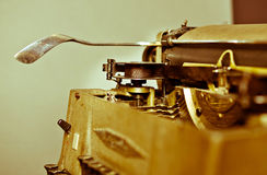 Old vintage typewriter. With russian keyboard royalty free stock photography
