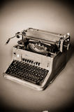 Old vintage typewriter. With russian keyboard stock images