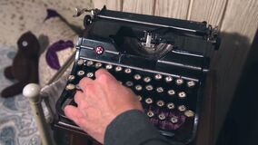 Old Vintage Typewriter Being Used By A man.  stock footage