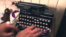 Old Vintage Typewriter Being Used By A man.  stock video