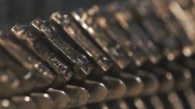 Old Vintage Typewriter, close-up. 4K UltraHD stock video footage