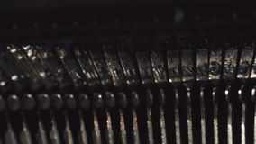 Old Vintage Typewriter, close-up, 4K UltraHD. Dplly shoy stock video