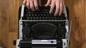 Old vintage typewriter closeup footage 4k. With hands stock footage