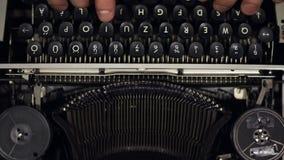 Old vintage typewriter closeup footage slow motion from 120fps. Old vintage typewriter closeup footage in slow motion from 120fps stock video footage